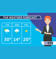 journalist when she announce the weather on tv vector image vector image