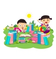 kids studying book vector image