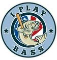 largemouth bass playing baseball bat vector image vector image