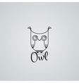 Lined owl logo or emblem in line style vector image vector image