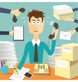 Man secretary hard working vector image vector image