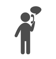man with phone flat icon pictograph isolated vector image vector image