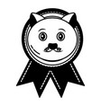 medal award with cat head prize vector image vector image