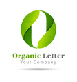 O letter green eco logo volume icon design vector image