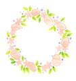 pink easter egg flowerand green leaf wreath vector image