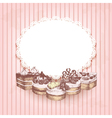 Pink retro background with hand drawn cakes vector image vector image