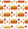 pixel art food computer design seamless pattern vector image vector image