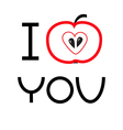 Red apple with heart shape I love you card Flat vector image