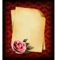 Retro background with beautiful pink rose and old