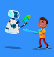 robot and little boy having fun with water guns vector image vector image