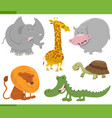 safari animal characters set vector image vector image