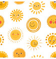seamless childish pattern with cute happy smiling vector image vector image