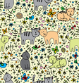 seamlessly pattern with cats vector image vector image