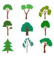 set cartoon tree vector image vector image