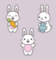 set collection kawaii cute white bunny with vector image