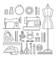 sewing kit outline icons set vector image
