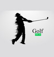 silhouette a golf player vector image vector image