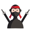 simple of a ninja with two swords on white vector image