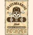 skate shop advertising vintage poster vector image