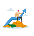 tiny business man in casual clothing work vector image vector image