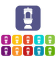 toilet bowl icons set vector image vector image