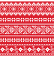 Ukrainian folk emboidery white pattern on red vector image vector image