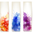 Collection of colorful abstract watercolor banners vector image