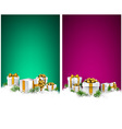 Christmas stripe banners with gift boxes vector image