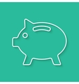 white outline piggy bank with shadow vector image