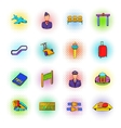 Airport set icons comics style vector image vector image