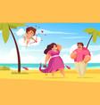 beach love cupid composition vector image