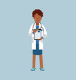black female doctor character in a white coat vector image vector image