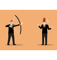 Businessman aiming to shoot at apple on colleague vector image vector image