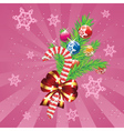 Candy Canes with Bow and Branch4 vector image vector image