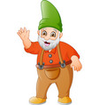 cartoon garden gnome waving vector image