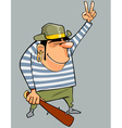 cartoon man in a pirate costume with baton shows vector image vector image