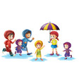 children wearing raincoats in rainy season vector image vector image