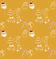 christmas seamless pattern on yellow background vector image vector image