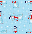 christmas seamless pattern snowman and snowflakes vector image vector image