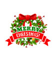 christmas tree wreath with bow icon of xmas design vector image