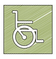 color pencil drawing square frame with wheelchair vector image vector image