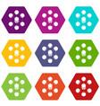 cube molecule icons set 9 vector image