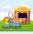 cute bear and lion with ticket sale tent vector image vector image