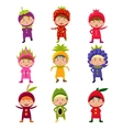 Cute Children in Fruit and Berry Costumes vector image vector image