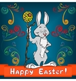 Easter bunny with egg and cane vector image
