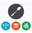 Eat sign icon Cutlery symbol Diagonal teaspoon vector image vector image