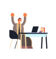 excited businessman holding raised hands business vector image vector image