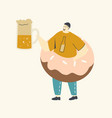 fat male character with huge donut on belly