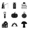 favorite pastime icons set simple style vector image vector image