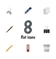 flat icon stationery set of clippers sheets vector image vector image